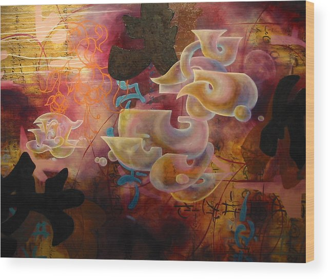 Abstraction Wood Print featuring the painting Roller Coaster Love by Monica James