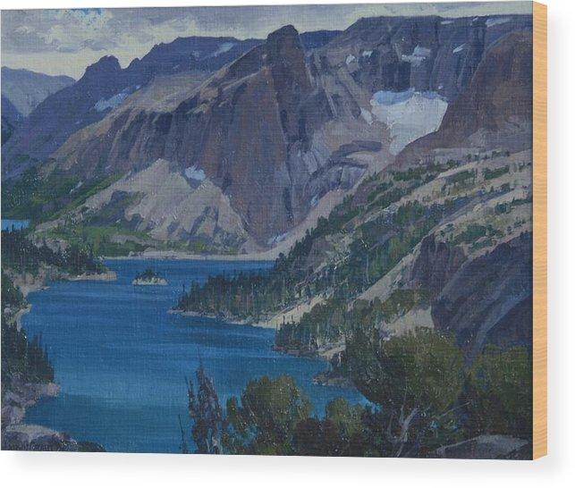 Landscape Wood Print featuring the painting Ross Lake by Lanny Grant