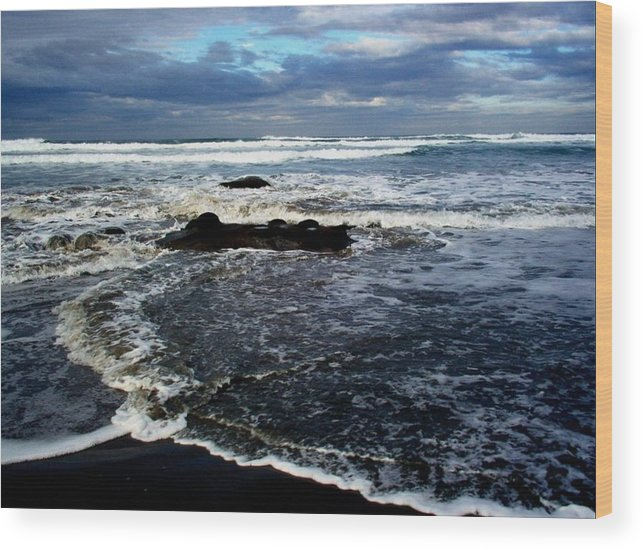 Ocean Wood Print featuring the photograph Rough Waters by Trisha Allard