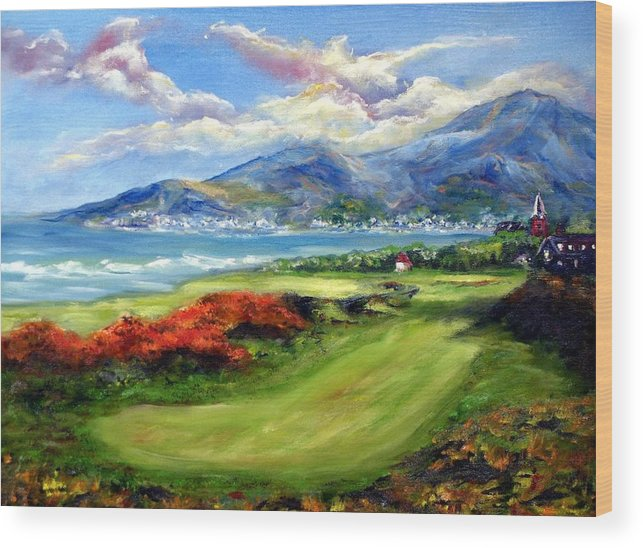 Golf Wood Print featuring the painting Royal County Down by Thomas Restifo