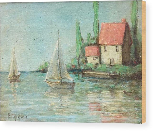 Monet Wood Print featuring the painting Sailing Day After Monet by Beth Capogrossi
