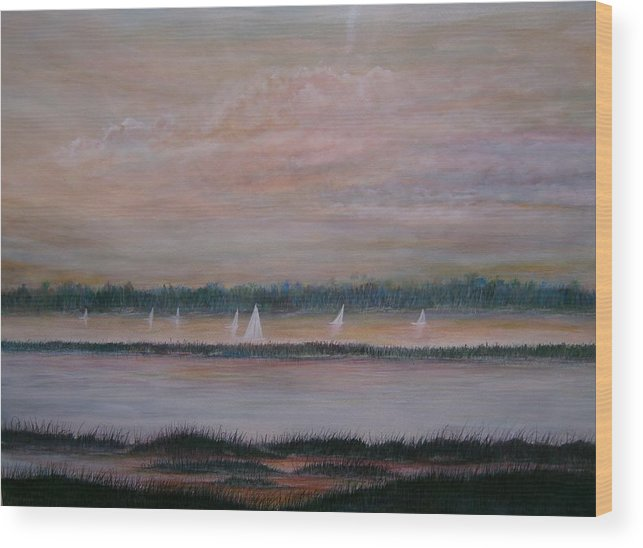 Sailboats; Marsh; Sunset Wood Print featuring the painting Sails In The Sunset by Ben Kiger