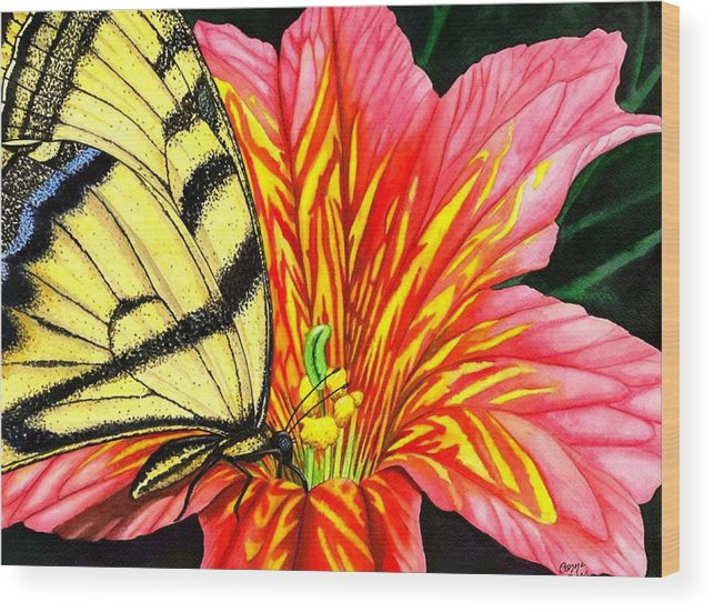 Salpiglossis Wood Print featuring the painting Salpliglossis by Catherine G McElroy