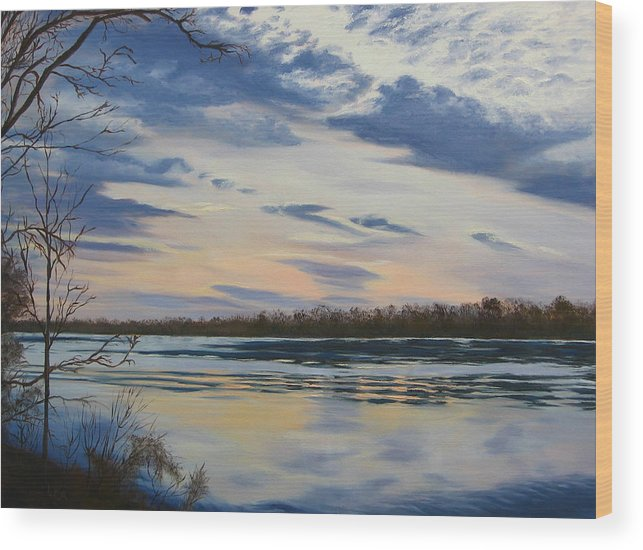 Clouds Wood Print featuring the painting Scenic Overlook - Delaware River by Lea Novak
