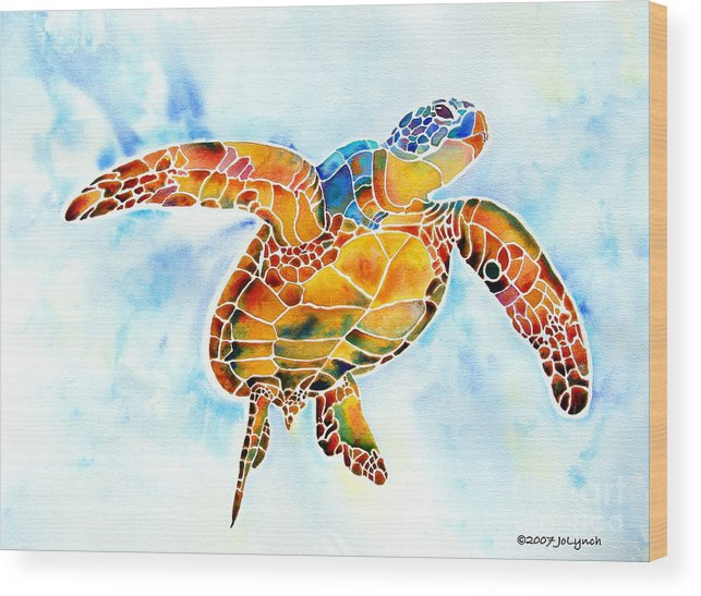 Sea Turtle Wood Print featuring the painting Sea Turtle Gentle Giant by Jo Lynch
