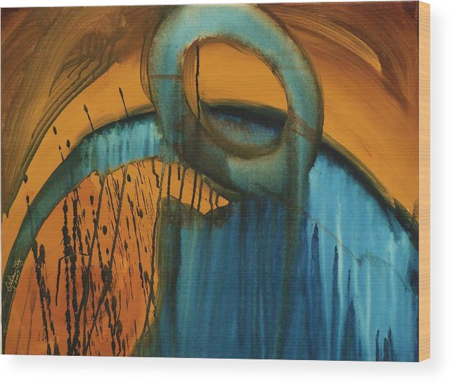 Abstract Wood Print featuring the painting Searching by Ofelia Uz