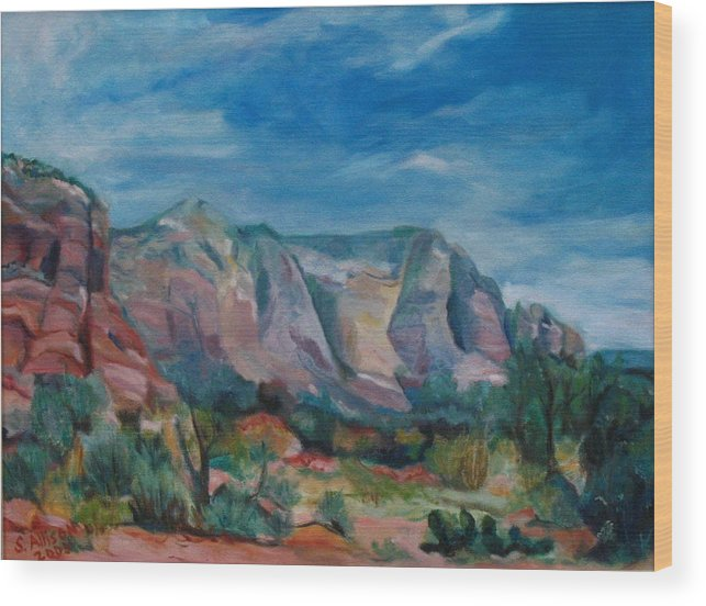 Landscape Wood Print featuring the painting Sedona II by Stephanie Allison