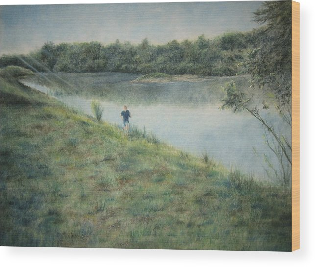 Seize The Hill Wood Print featuring the pastel Seize The Hill by Larry Whitler