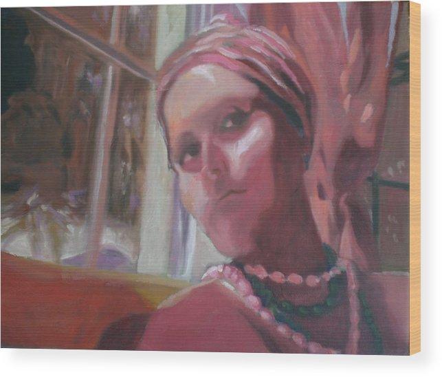 Selfportrait Wood Print featuring the painting Selfportrait V by Aleksandra Buha