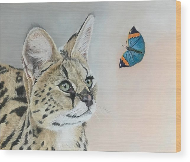 Wildlife Wood Print featuring the drawing Serval by Michelle McAdams