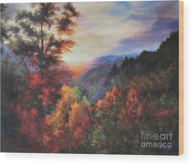 Mountain Vista Wood Print featuring the painting Shades Of Twilight by Katherine Tucker