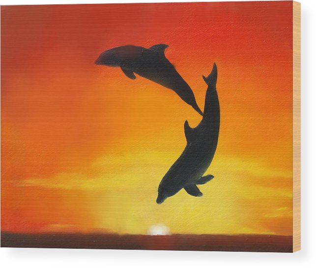 Sunset Wood Print featuring the painting Showing Off by Darlene Green