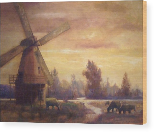 Windmill Wood Print featuring the painting Sienna Mill by Ruth Stromswold