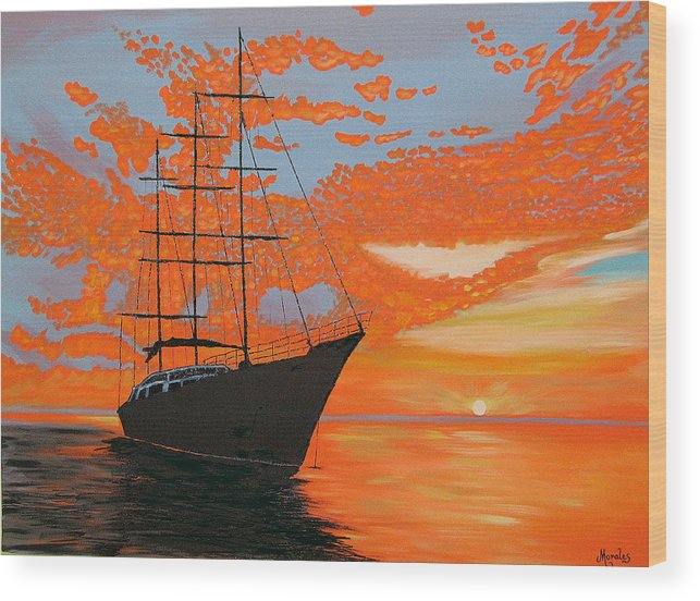 Seascape Wood Print featuring the painting Sittin' On The Bay by Marco Morales
