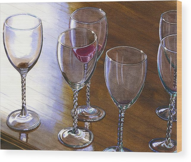 Glasses Wood Print featuring the painting Six Wine Glasses by Catherine G McElroy