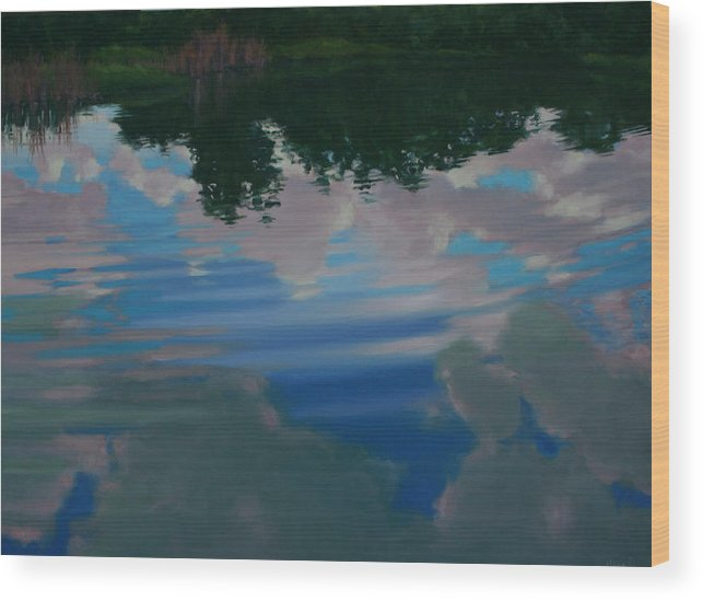 Oil On Canvas Wood Print featuring the painting Sky Pond by Michael Vires