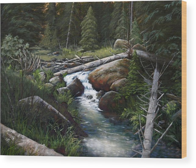 Landscape Wood Print featuring the painting Small Stream In The Lost Wilderness 070810-1612 by Kenneth Shanika