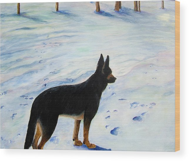 German Shepherd Wood Print featuring the painting Sounds Of Silence by JoLyn Holladay