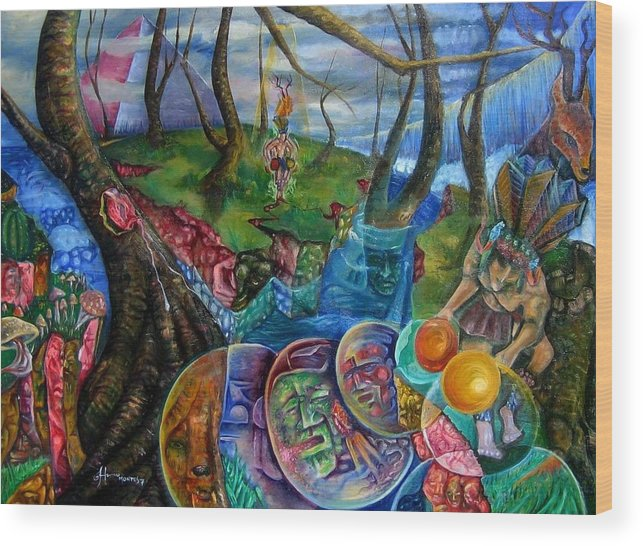 Paintings Wood Print featuring the painting Spirit Dance by Horacio Montes