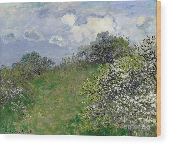 Spring Wood Print featuring the painting Spring by Claude Monet