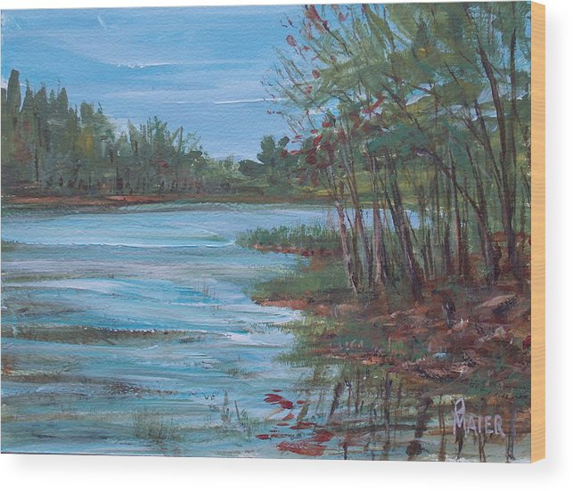 Landscape Wood Print featuring the painting Spring Lake by Pete Maier