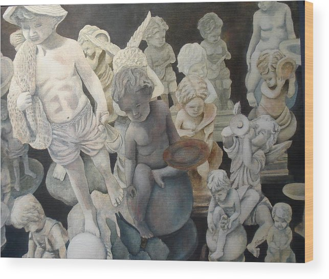 Stone Wood Print featuring the painting Stone Angels by Victoria Heryet