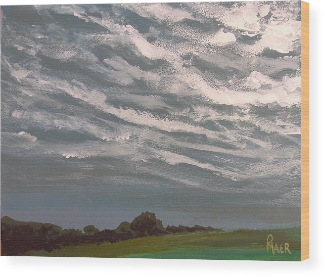 Storm Wood Print featuring the painting Storm Front by Pete Maier
