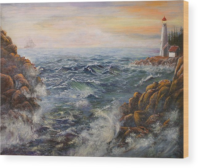 Seascape Wood Print featuring the painting Stormy Pacific by Lucille Owen-Huston