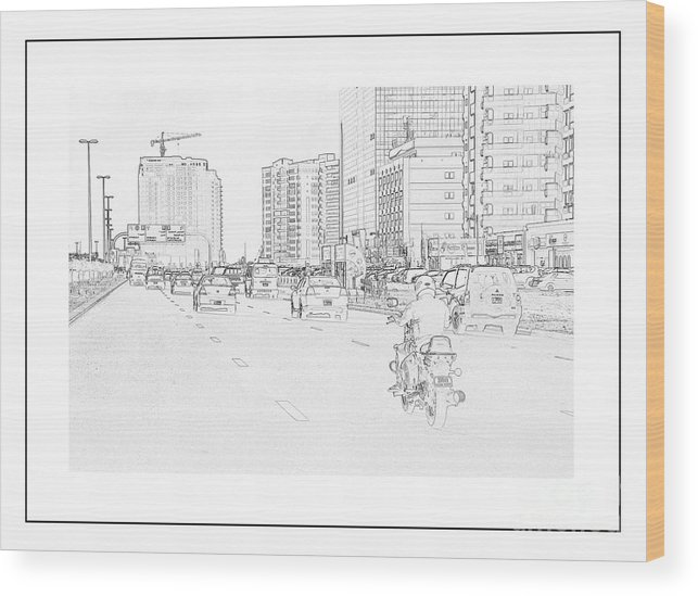 Street Wood Print featuring the painting Street Activities by Hussein Kefel
