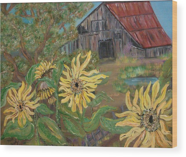 Farm House Wood Print featuring the painting Sunflower Farm by Mikki Alhart