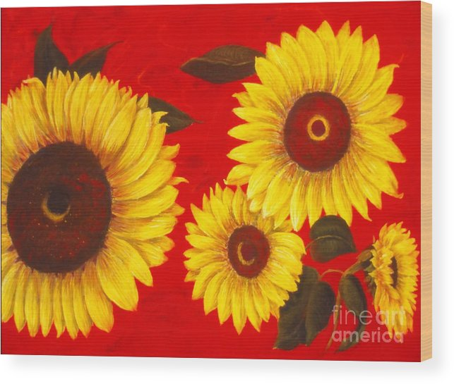 Flowers Wood Print featuring the painting Sunflowers IIi by Mary Erbert