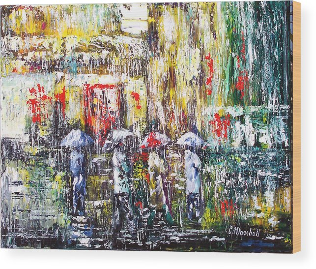 Art Wood Print featuring the painting Sunrise City Rain by Claude Marshall