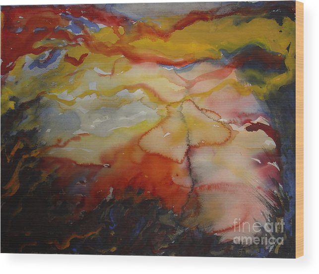 Sunset Clearing Sky Leila Atkinson Abstract Original Watercolor Wood Print featuring the painting Sunset Series II by Leila Atkinson