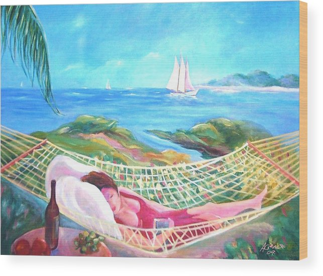 Landscape Art Wood Print featuring the painting Sweet Dreams by Arnold Grace