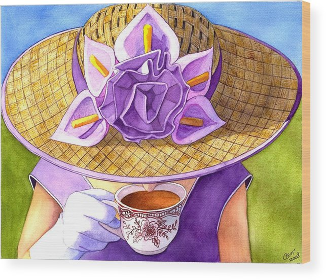 Tea Wood Print featuring the painting Tea Party by Catherine G McElroy