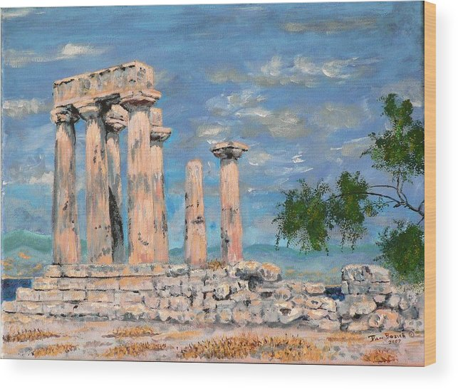 Landscape Wood Print featuring the painting Temple Of Apollo by Dan Bozich