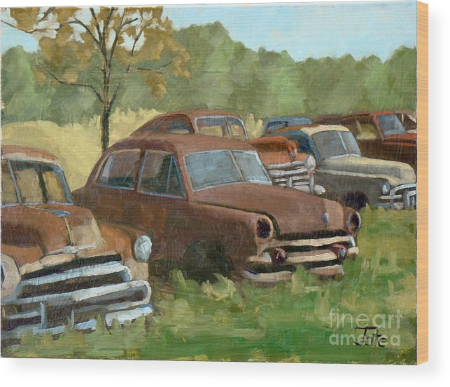 Old Cars Wood Print featuring the painting Texas Gentlemen by Tate Hamilton