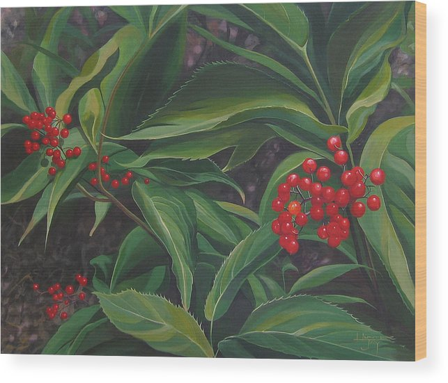 Berries Wood Print featuring the painting The Berries On Guanella Pass by Hunter Jay