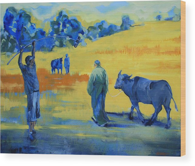 Landscape Yellow Animals People On Set Movies Film Buffalo Wood Print featuring the painting The Boom Man And The Buffalo by Amy Bernays