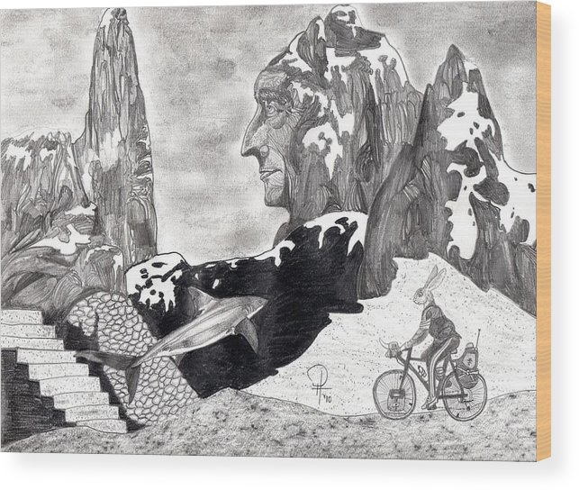 Bunny Wood Print featuring the drawing The Bunny Bike by Doug Hiser