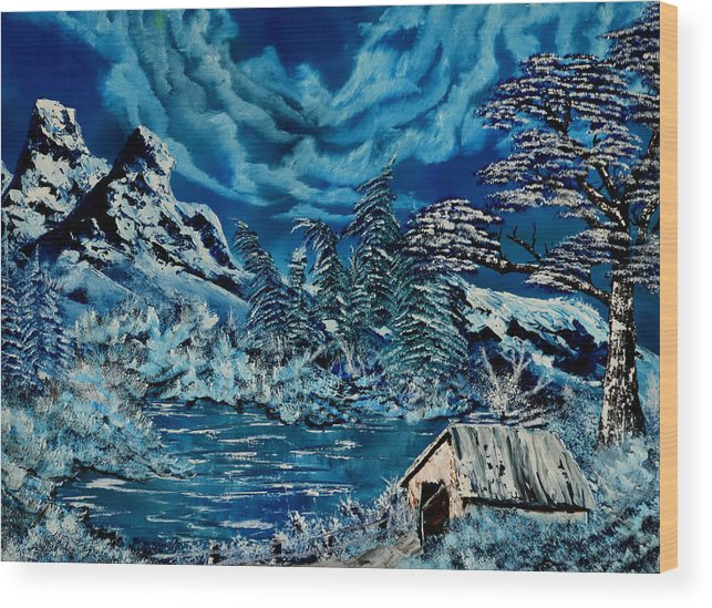 Winter Landscape Wood Print featuring the painting The Freeze by Vincent Keele