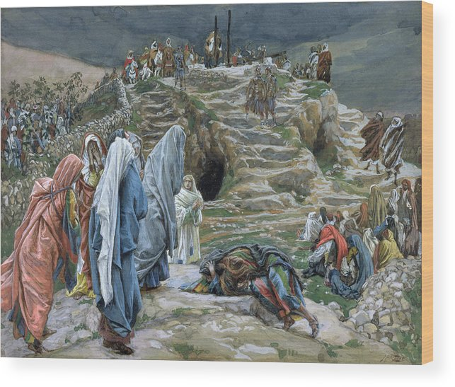 Tissot Wood Print featuring the painting The Holy Women Stand Far Off Beholding What Is Done by James Jacques Joseph Tissot