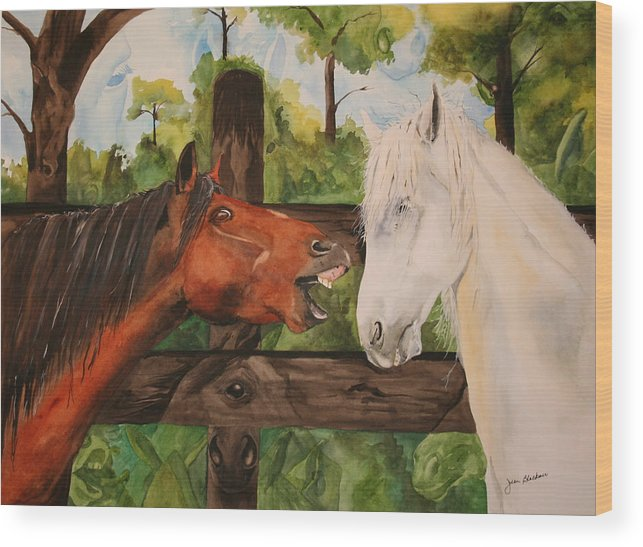 Horse Wood Print featuring the painting The Horse Whisperers by Jean Blackmer