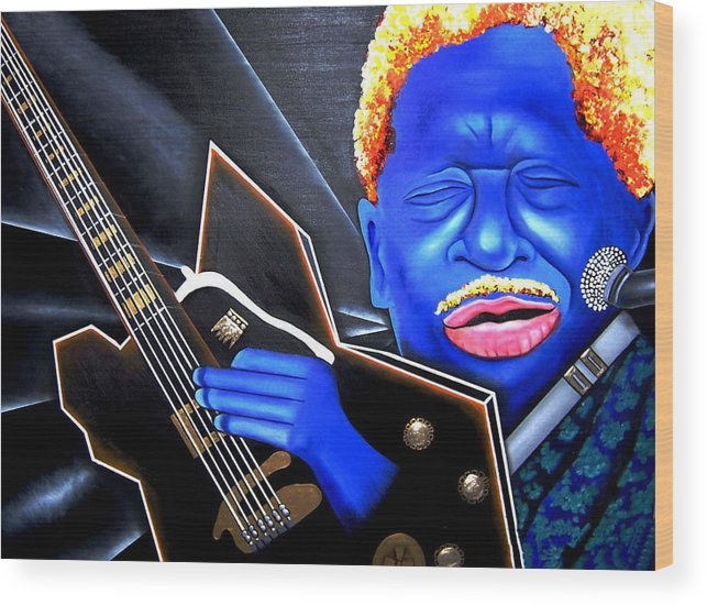 Portrait Wood Print featuring the painting The King by Nannette Harris