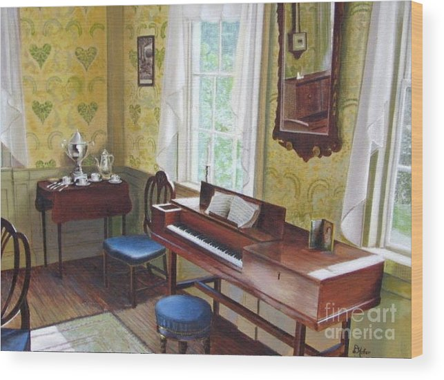Paintings Wood Print featuring the painting The Ladies Parlor by Donald Hofer