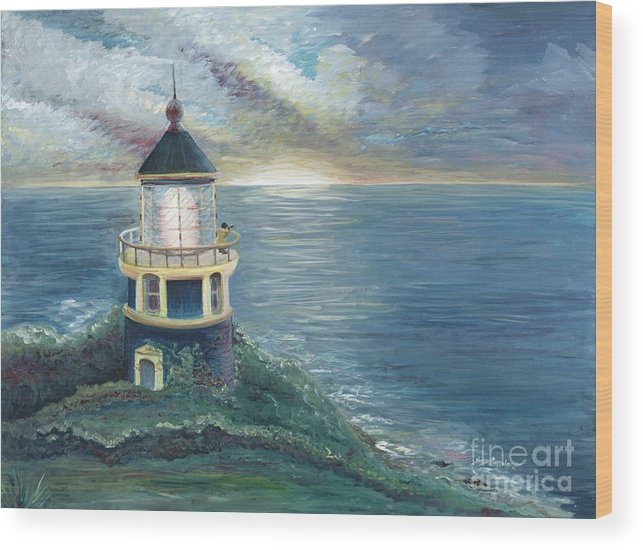 Lighthouse Wood Print featuring the painting The Lighthouse by Nadine Rippelmeyer