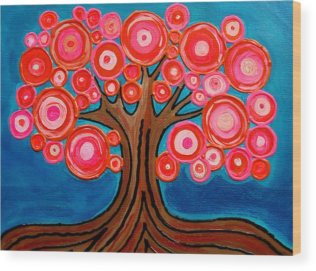 Tree Colorful Bright Funky Playful Pink Orange Abstract Wood Print featuring the painting The Lollipop Tree by Pamela Cisneros