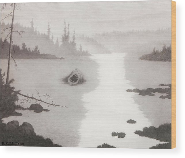 Kittelsen Wood Print featuring the painting The Nix by MotionAge Designs