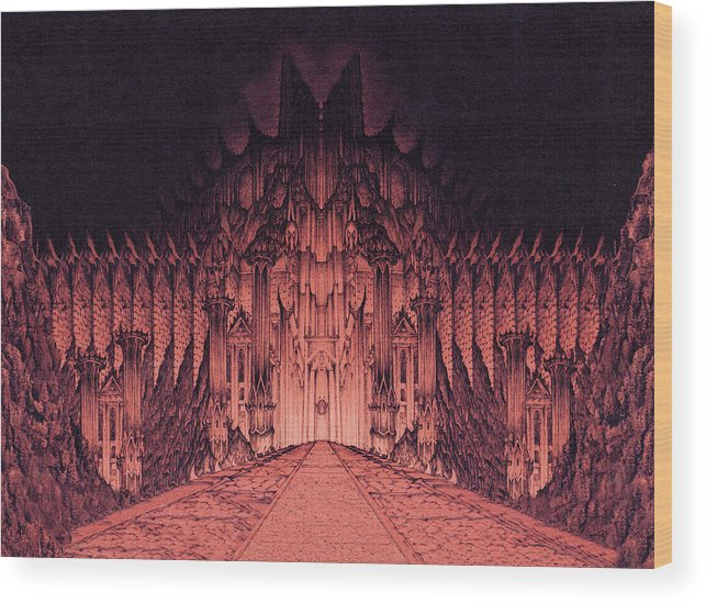 Barad Dur Wood Print featuring the drawing The Walls Of Barad Dur by Curtiss Shaffer