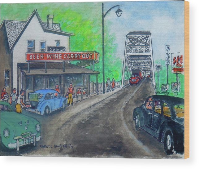 Portsmouth Ohio Carryout West 2nd Street 1950 Wood Print featuring the painting The West End Carryout At The Bridge by Frank Hunter